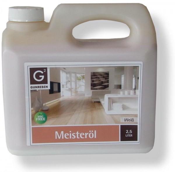 Meisteröl Weiß von Gunreben, 2,5 Liter Kanister, zur Ersteinpflege und Grundbehandlung von Holzböden