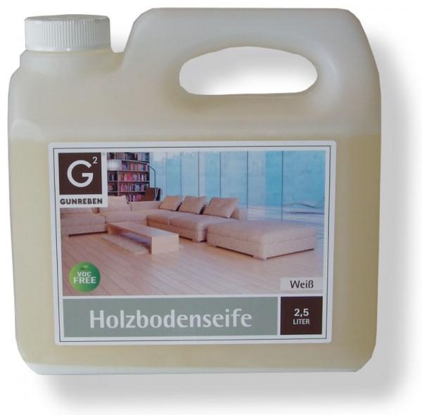 Holzbodenseife Weiß von Gunreben, 2,5 Liter Kanister, zur regelmäßigen Reinigung weiß geölter Holzböden