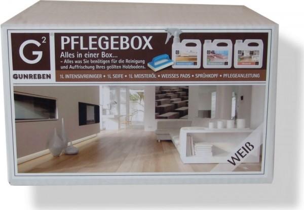 Pflegebox Weiß von Gunreben für weiß geölte Holzböden, All-in-One Set mit je 1,0 Liter Intensivreiniger, Seife und Öl