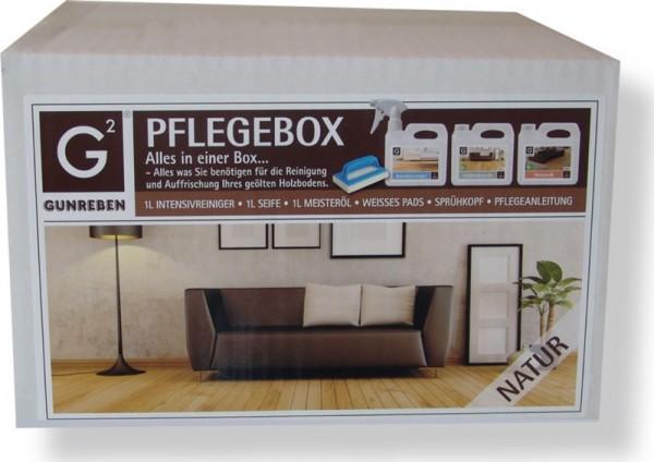 Pflegebox Natur von Gunreben für geölte Holzböden, All-in-One Set mit je 1,0 Liter Intensivreiniger, Seife und Öl